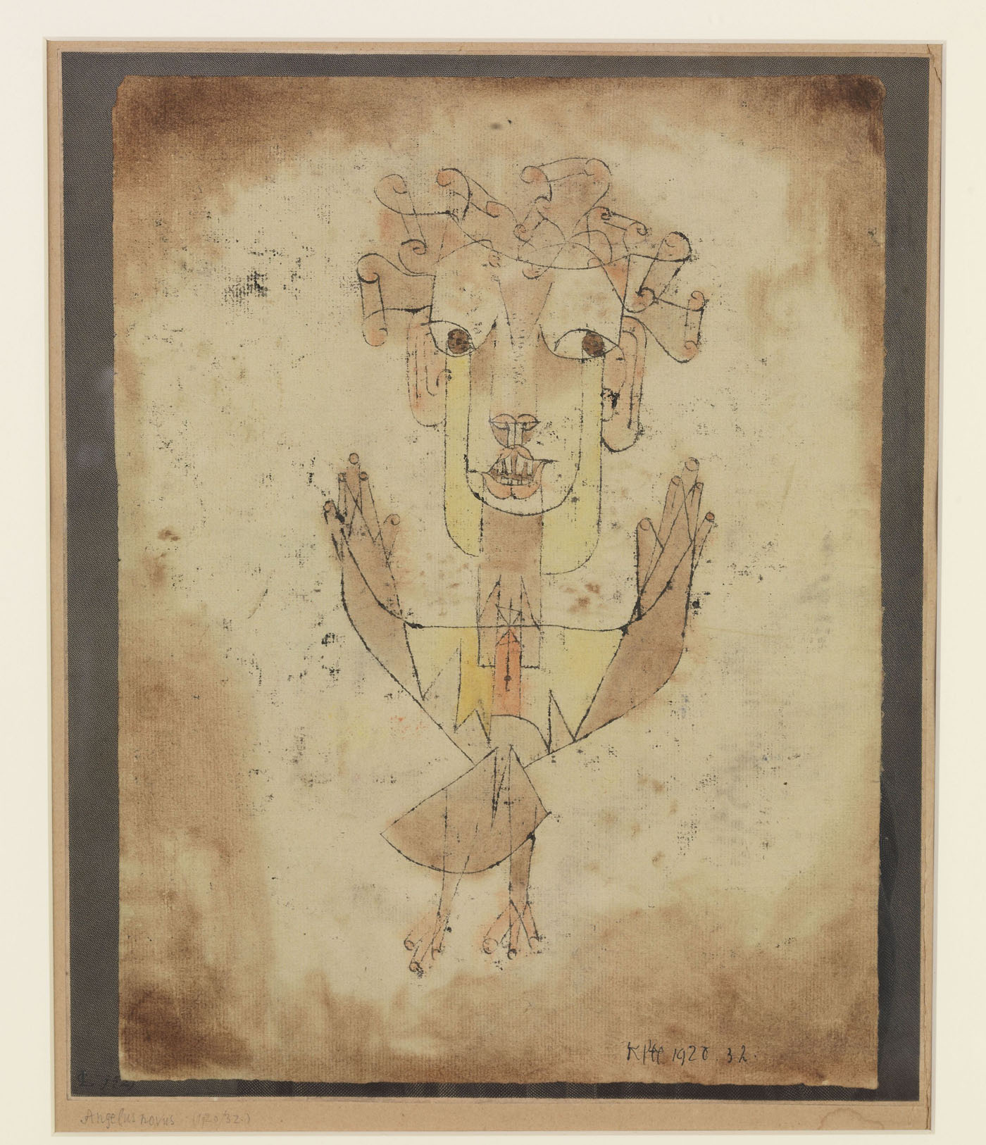 """Paul Klee, """"Angelus novus"""" (1920), oil and watercolor on paper on card (courtesy the Israel Museum, Jerusalem)"""