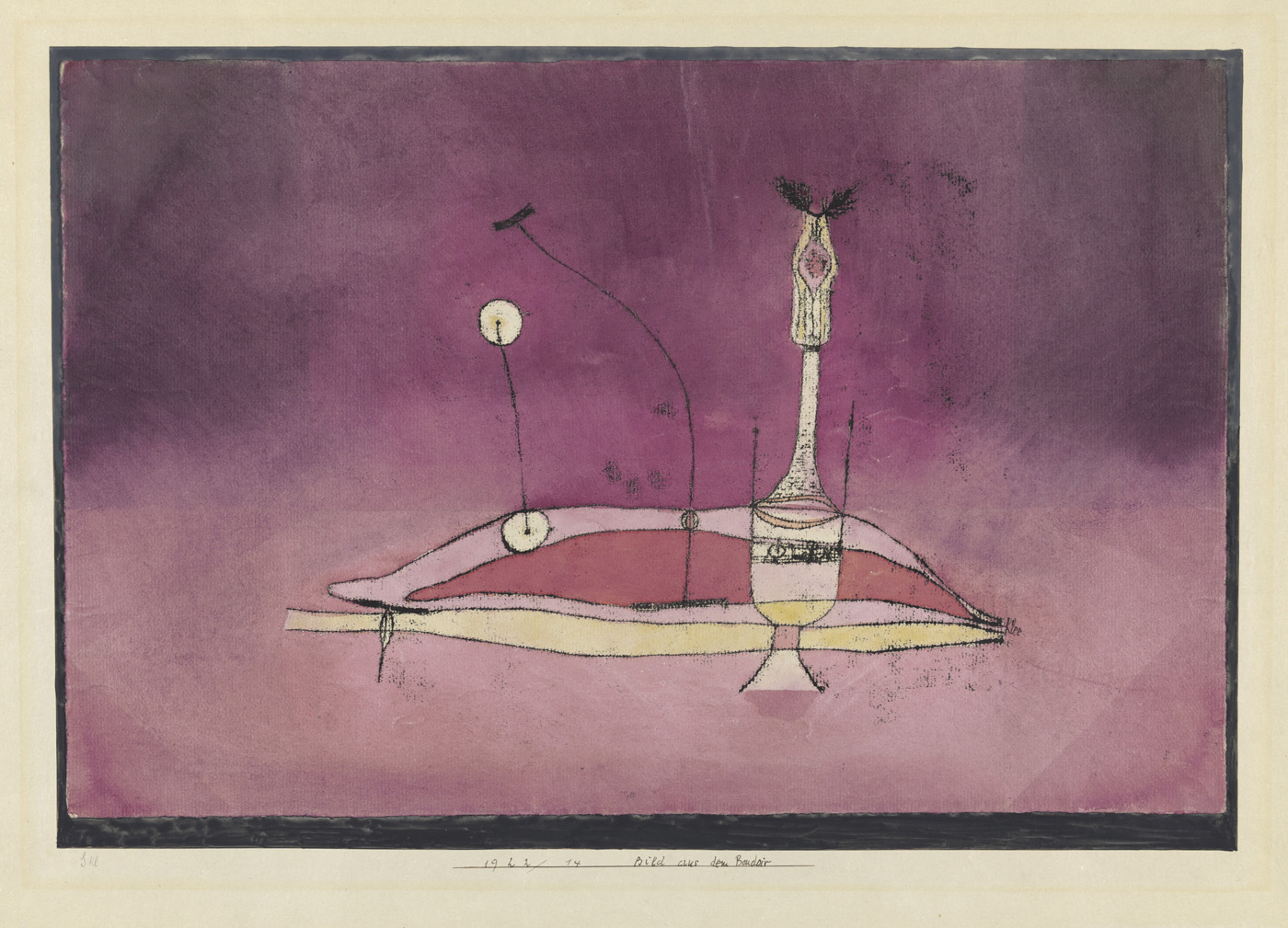 "Paul Klee, ""Bild aus dem Boudoir Image tirée du boudoir"" (1922), copy in oil and watercolor on paper on card (courtesy Zentrum Paul Klee, Berne)"