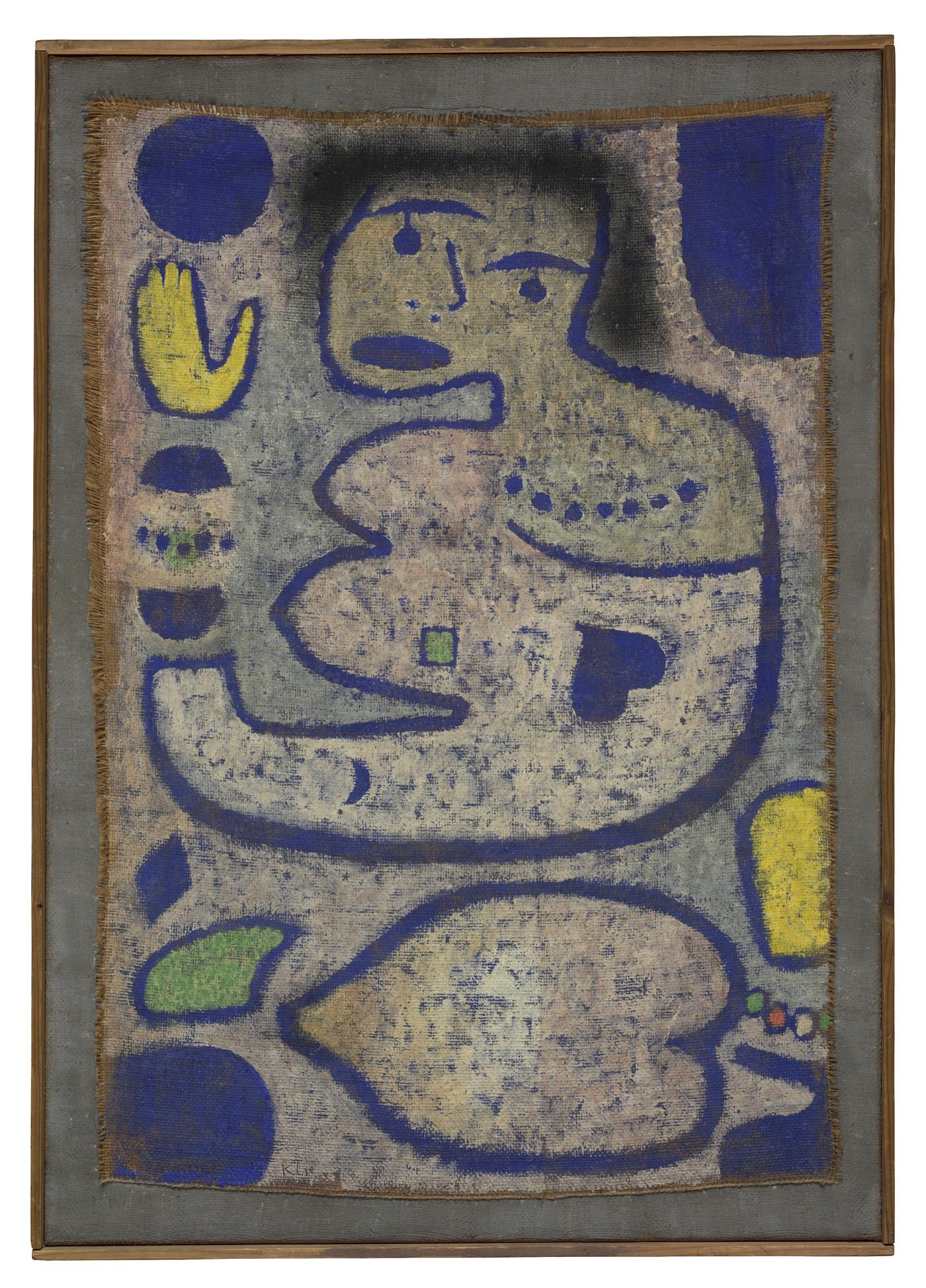 """Paul Klee, """"Liebeslied bei Neumond Chant d'amour à la nouvelle lune"""" (1939), watercolor on hessian canvas (Zentrum Paul Klee, Bern)"""