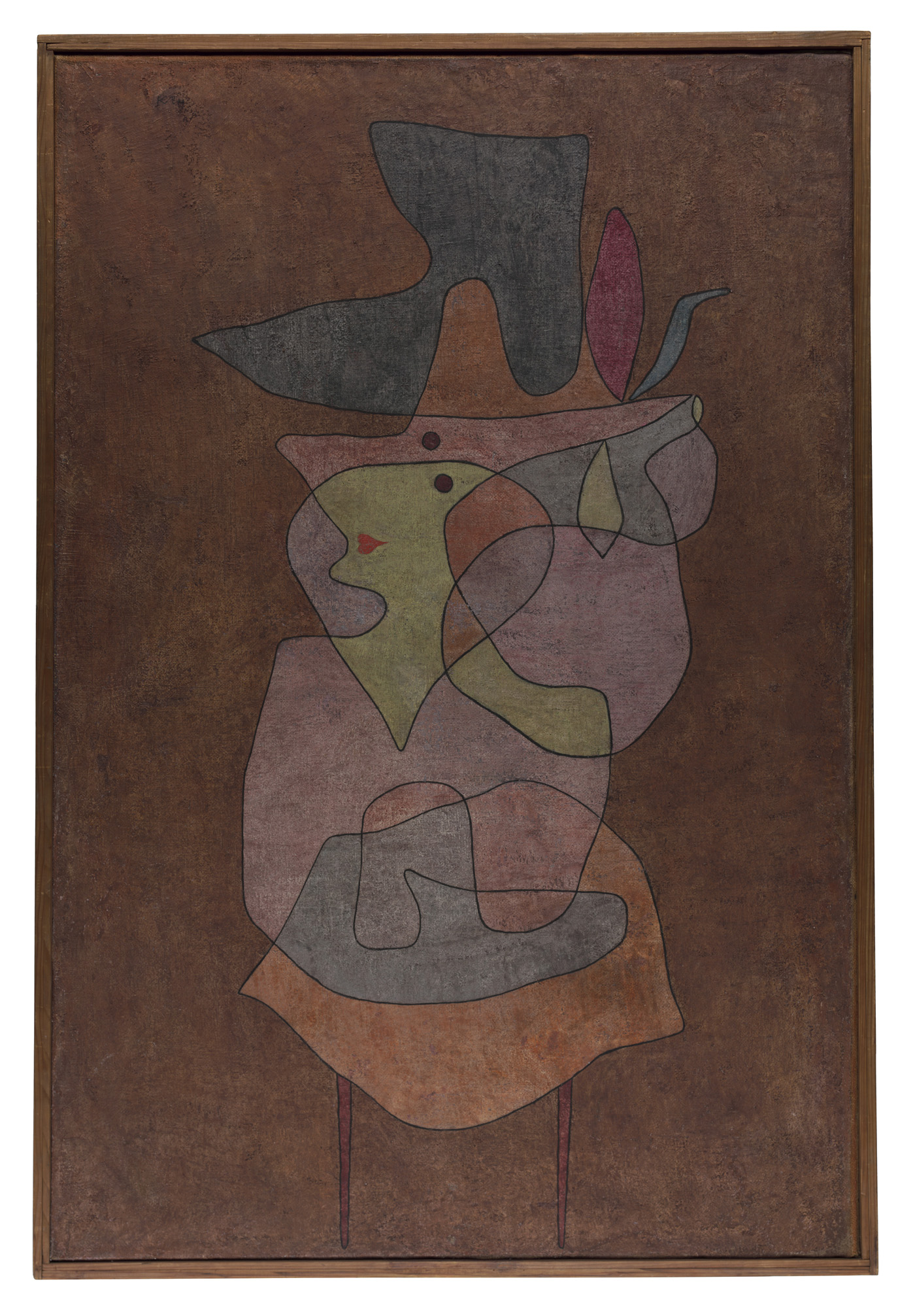 "Paul Klee, ""Dame Démon"" (1935), oil and watercolor on prepared hessian canvas on card (Zentrum Paul Klee, Berne)"
