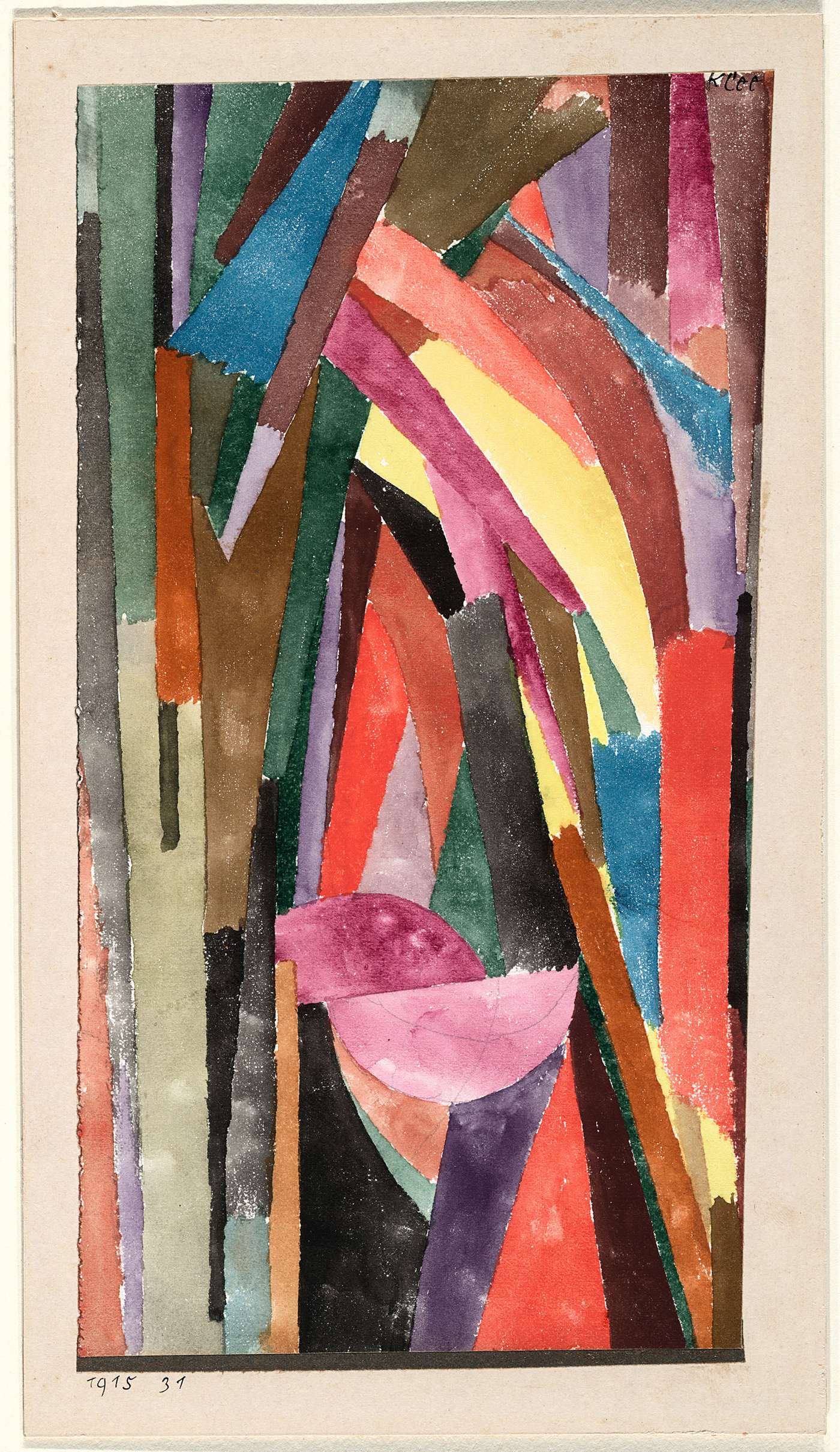 "Paul Klee, ""(Lustig?) [Lachende Gothik] [(Drôle?) [Gothique joyeux]]"" (1915), watercolor and pastel on paper, metallic paper borders on card (courtesy the Museum of Modern Art, New York © 2016; digital image, The Museum of Modern Art, New York/Scala, Florence)"