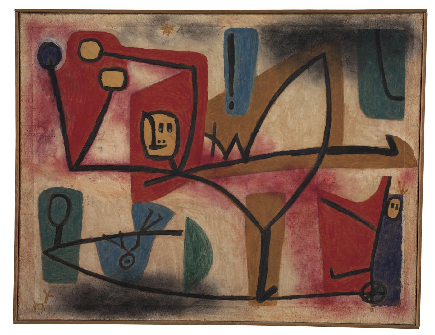 "Paul Klee, ""Übermut Exubérance"" (1939), oil and color glue paint on paper on hessian canvas (courtesy Zentrum Paul Klee, Bern)"