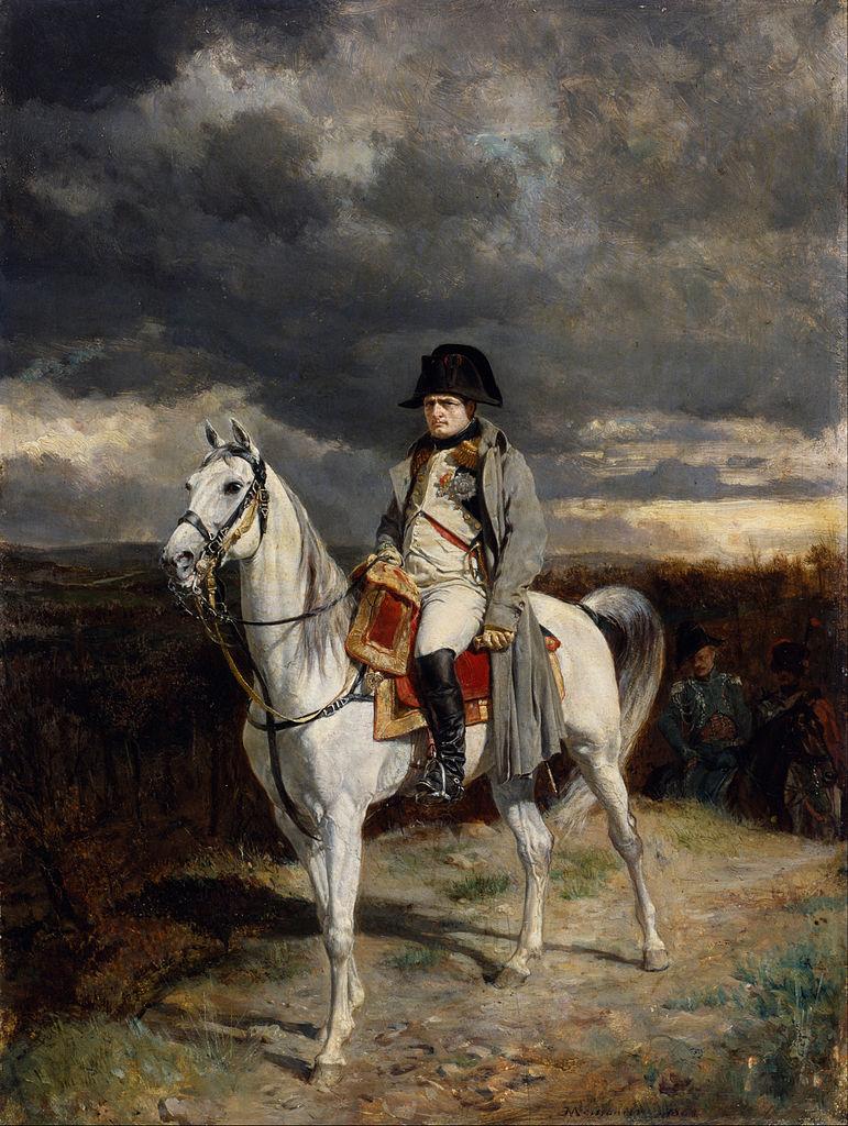"""Jean-Louis-Ernest Meissionier, """"1814"""" (1862), oil painting. It's believed to depict Napoléon riding le Vizir (via Walters Art Museum/Wikimedia)"""