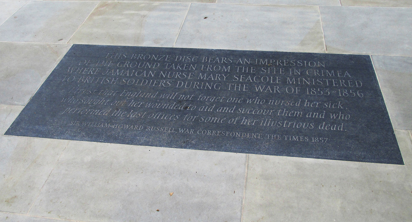 The plaque for the Mary Seacole statue in London (photo by David Holt/Flickr)