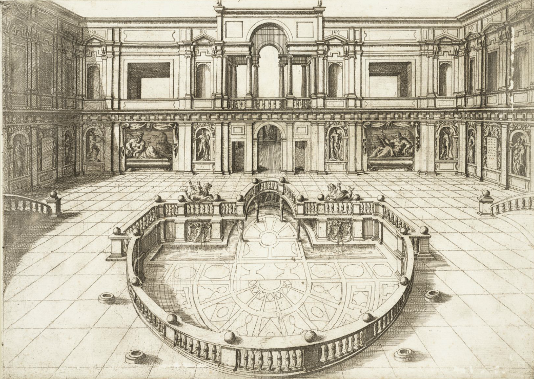 "Hieronymus Cock, ""Courtyard with Fountain in The Villa Of Pope Julius III"" (1582) (via Speculum Romanae Magnificentiae)"