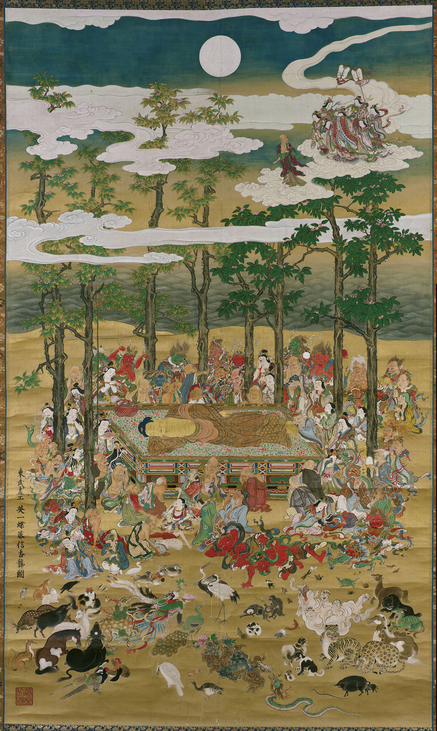 The Death of the Historical Buddha Hanabusa Itchô (Japanese, 1652–1724) 1713 (Shôtoku 3) Hanging scroll; ink, color, and gold on paper * Fenollosa-Weld Collection * Photograph © Museum of Fine Arts, Boston