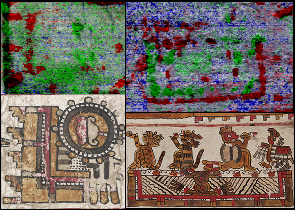 Top: two examples of river place signs, revealed from the Codex Selden using hyperspectral imaging; bottom: similar river glyphs (shown as red lines) from the visible storyline seen on the front of Codex Selden at the Bodleian Libraries and Codex Zouche-Nuttall at the British Museum (© Journal of Archaeological Sciences: Reports, 2016 Elsevier) (click to enlarge)