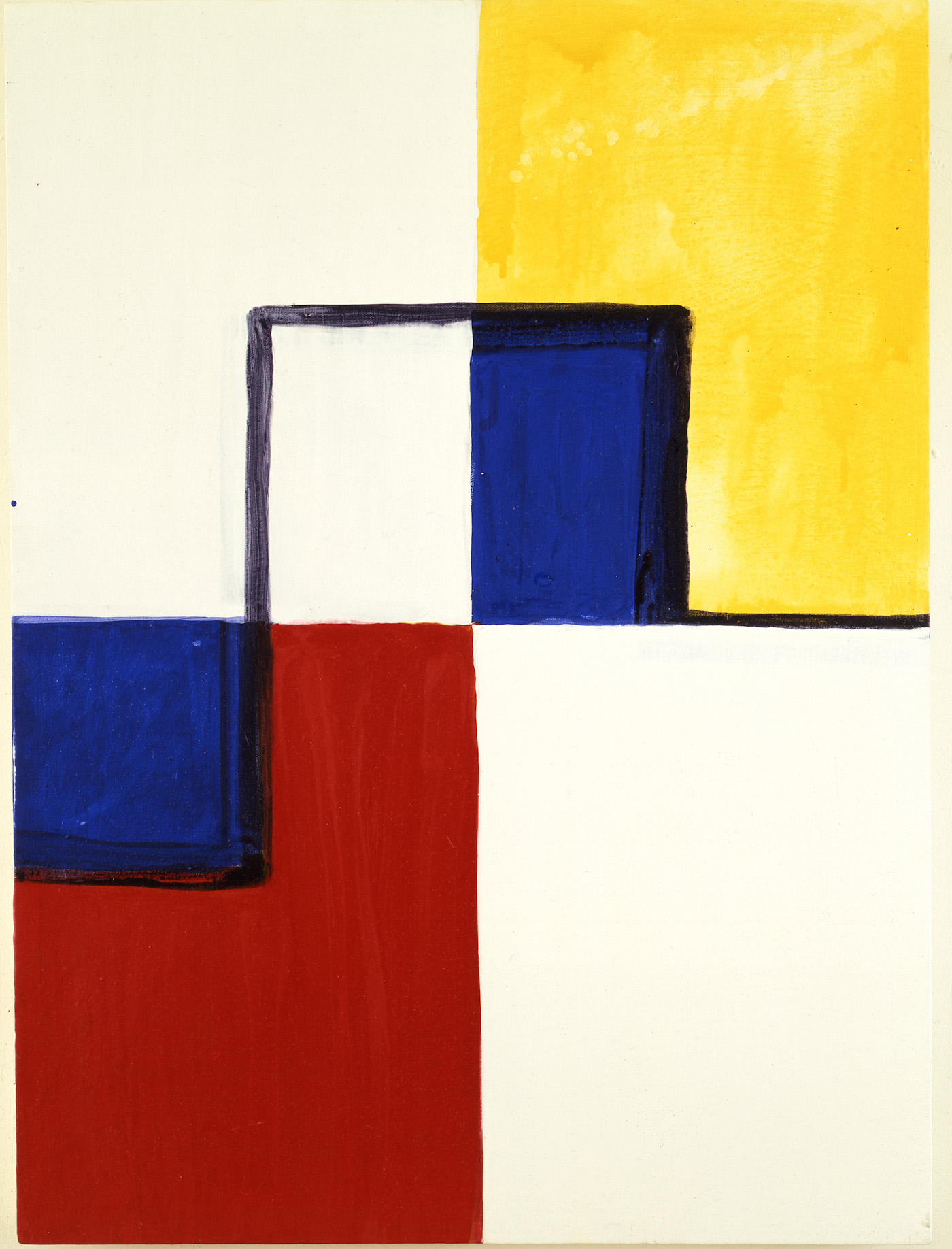 """Mary Heilmann, """"Little Mondrian"""" (1985), acrylic and watercolor on canvas (©Mary Heilmann, photo by Pat Hearn Gallery; courtesy of the artist, 303 Gallery, New York, and Hauser & Wirth)"""