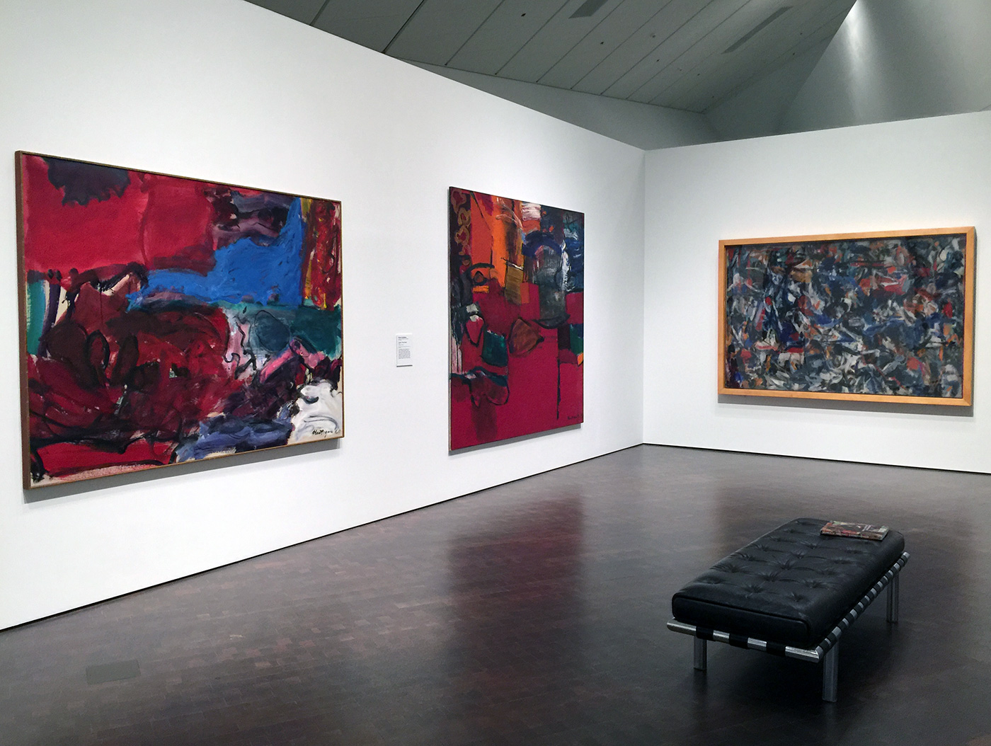 """Works by Grace Hartigan, including """"The King Is Dead"""" (1951) (far right)"""