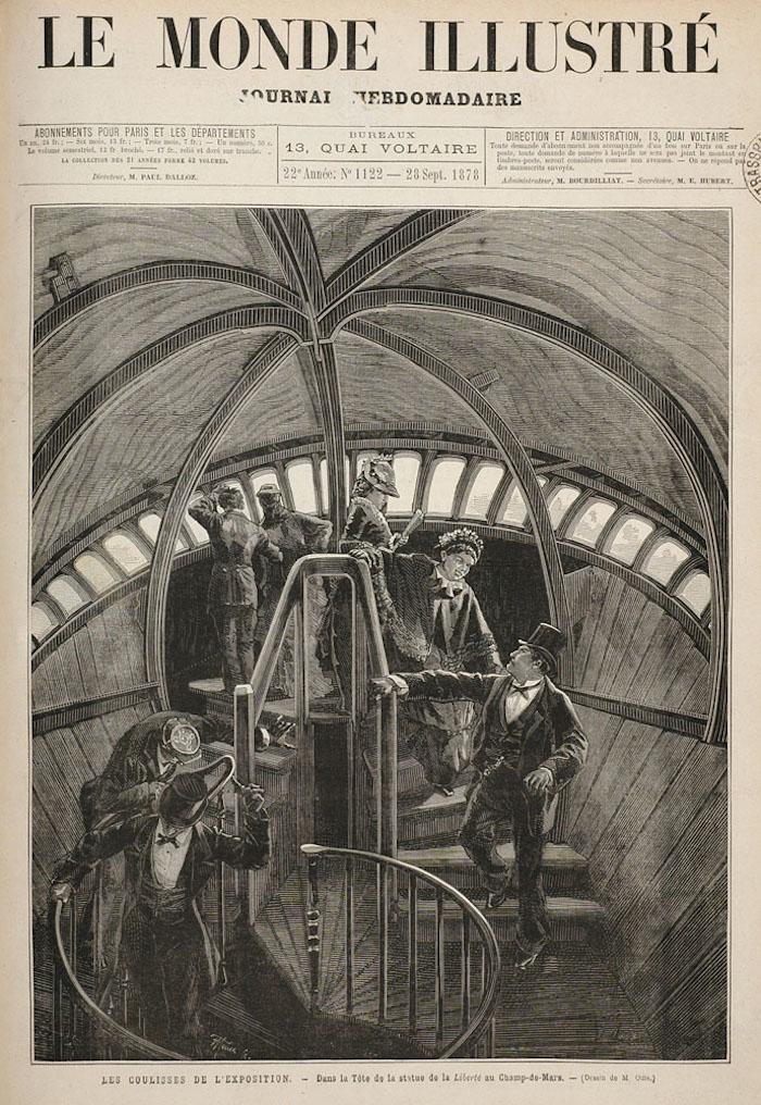"""F. Moller, """"Les coulisses de l'Exposition. Dans la tête de la Statue de la Liberté au Champ- de-Mars,"""" after a drawing by M. Oms (1878)"""