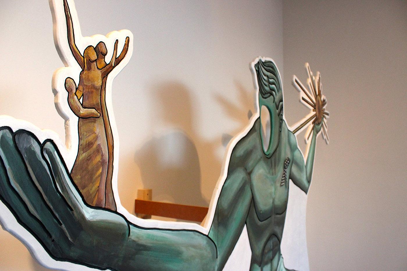 "RaRoCo, ""Spirit of Detroit, One Size Fits All"" (2016), Acrylic, wood, ribbon"
