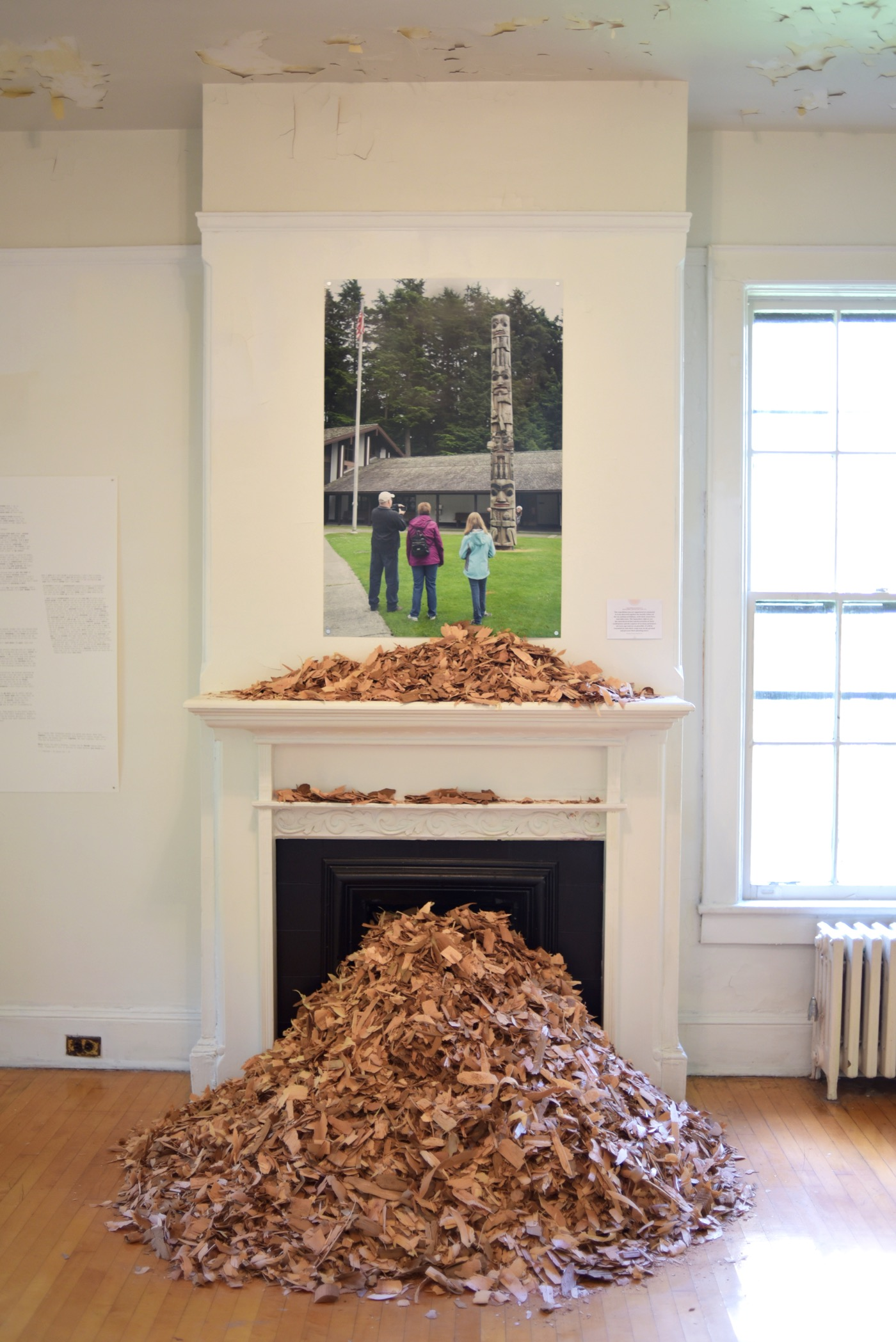 Nicholas Galanin, You Are on Indisneyian Land, (2016) Digital print and red cedar chips