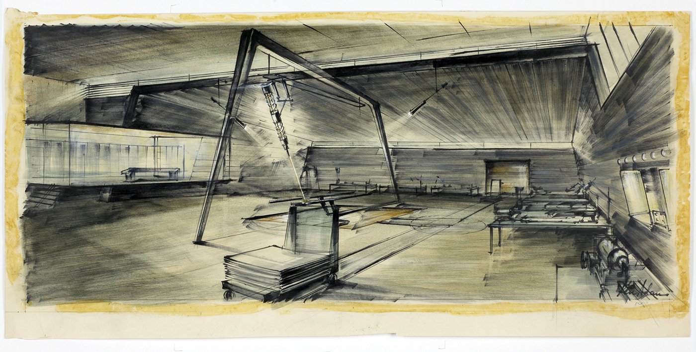 Ken Adam's concept art for the laser table (© 1964 Danjaq, LLC & United Artists Corporation; all rights reserved)