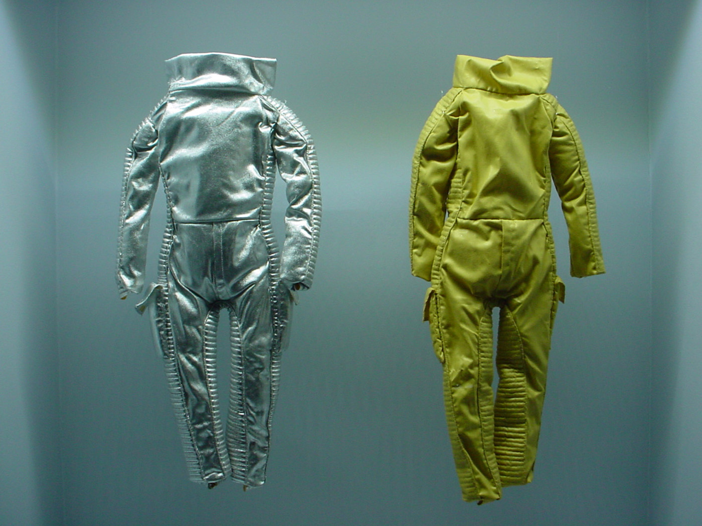 Miniature space suit prototypes by Jacques Fonteray for 'Moonraker' (1979) (photo by the author for Hyperallergic)