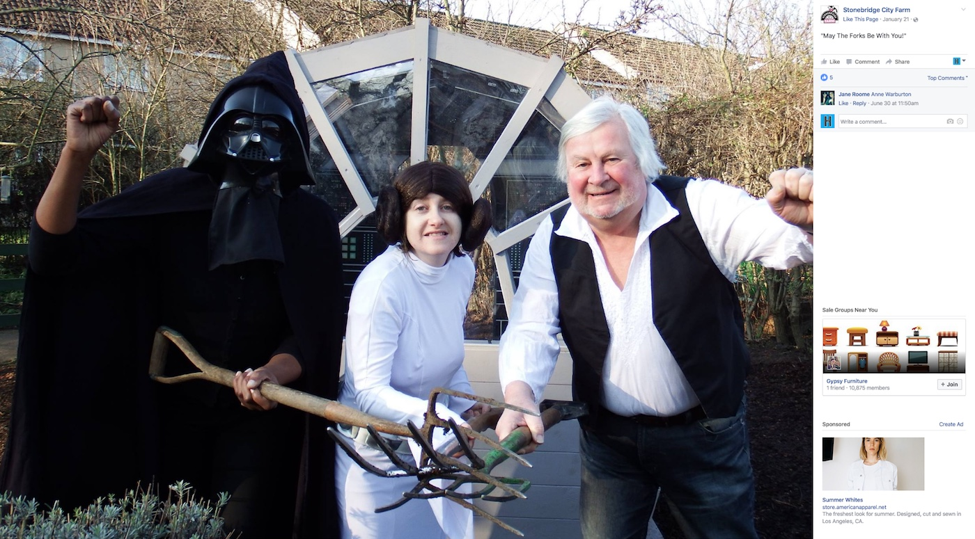 Stonebridge City Farms volunteers with their Millennium Falcon-shaped shed (screenshot by the author via Facebook)