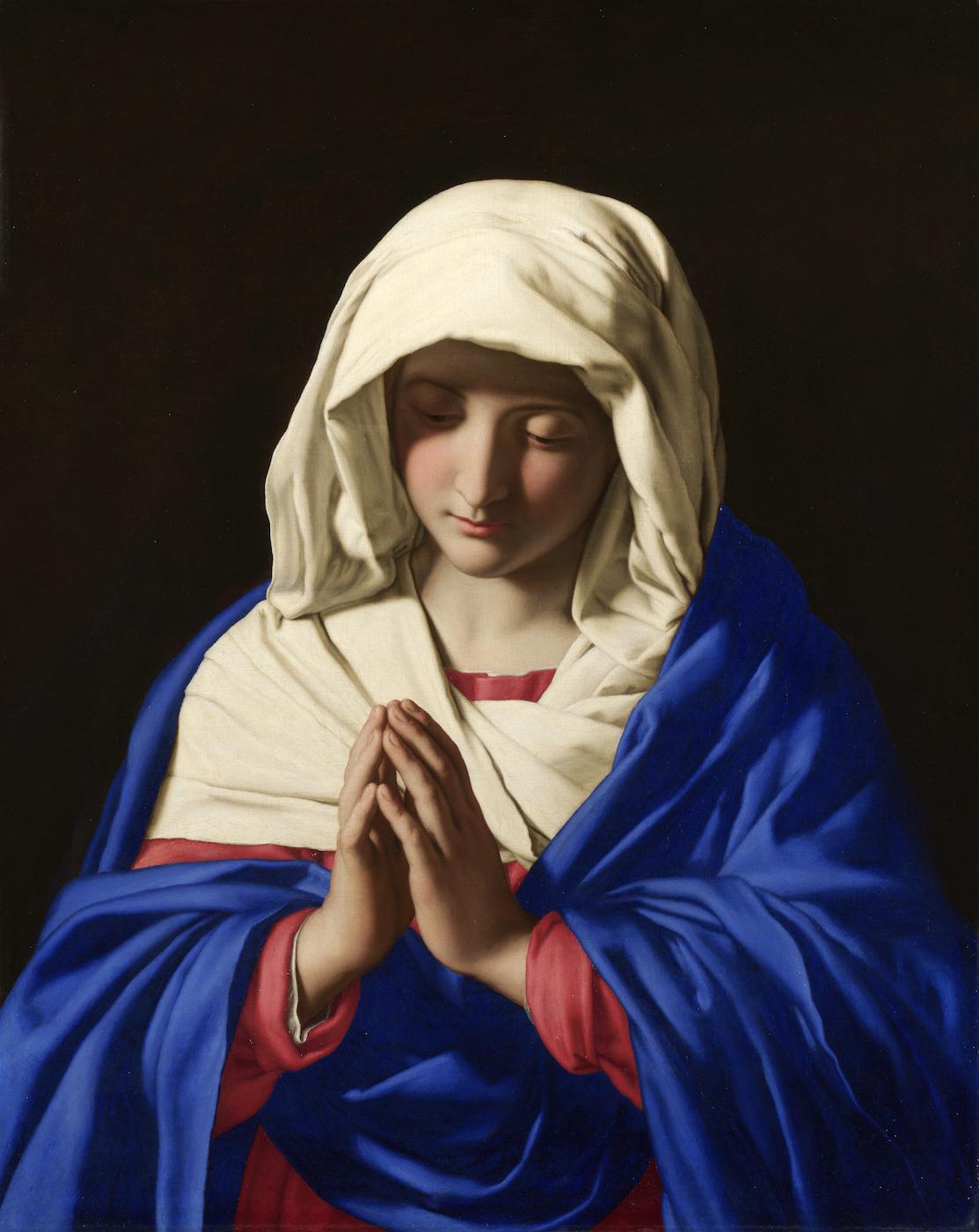 "Giovanni Battista Salvi da Sassoferrato, ""The Virgin in Prayer"" (1640-50), oil on canvas, with lapis lazuli pigment on her clothing (via National Gallery, London/Wikimedia)"