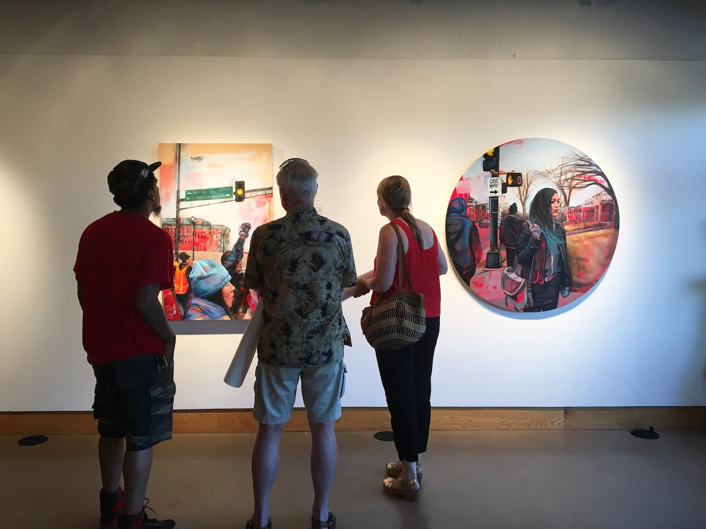 Installation view of 'Reframe Minnesota' at All My Relations Arts, featuring paintings by Leslie Barlow (photos by and courtesy the artist)