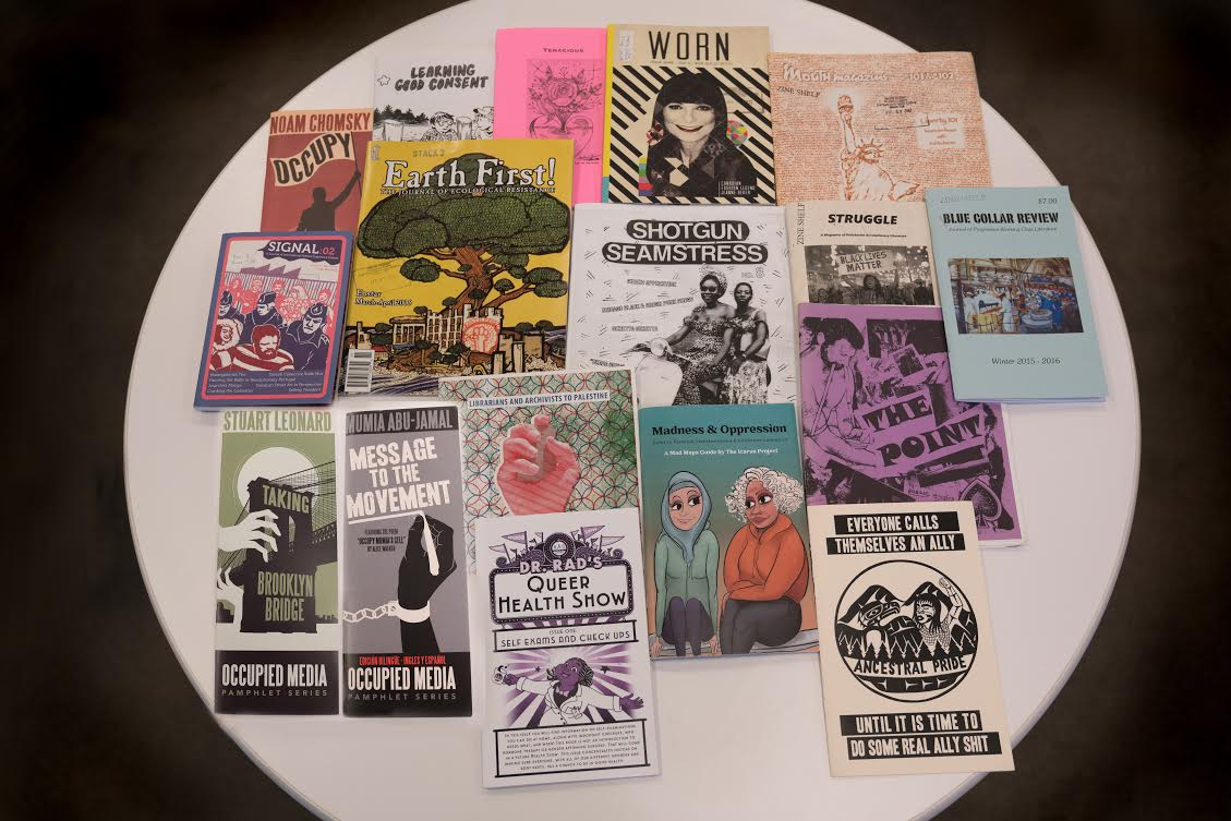 Publications on view in 'Protests in Print' at the New York Public Library (courtesy NYPL)