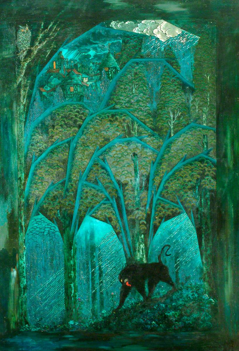 "Sidney Herbert Sime, ""Woods and Dark Animals"" (1865-1941), oil on canvas (courtesy Sidney H. Sime Memorial Gallery, via Art UK)"