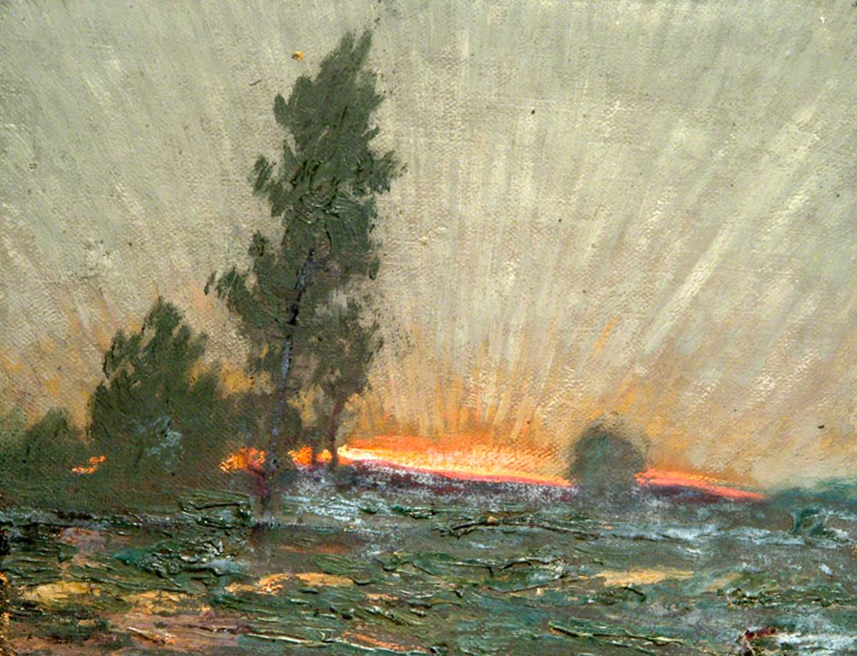 "Sidney Herbert Sime, ""Landscape and Sky"" (nd), oil on canvas (courtesy Sidney H. Sime Memorial Gallery, via Art UK)"
