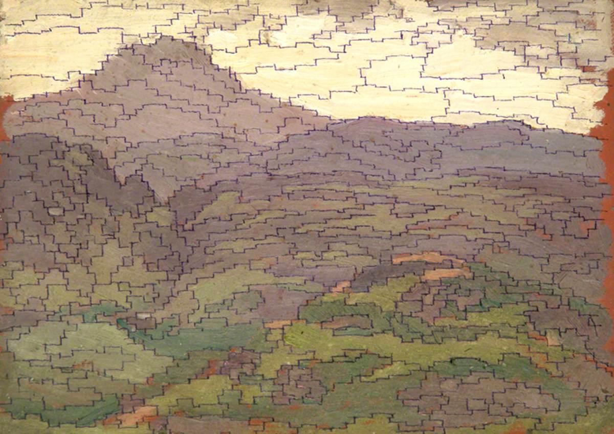 """Sidney Herbert Sime, """"Landscape"""" (nd), oil on panel board (courtesy Sidney H. Sime Memorial Gallery, via Art UK)"""
