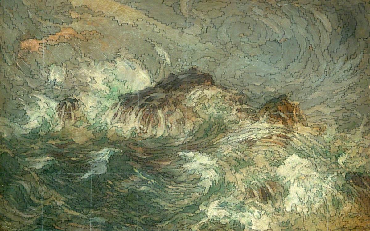"Sidney Herbert Sime, ""Waves"" (nd), oil on canvas (courtesy Sidney H. Sime Memorial Gallery, via Art UK)"