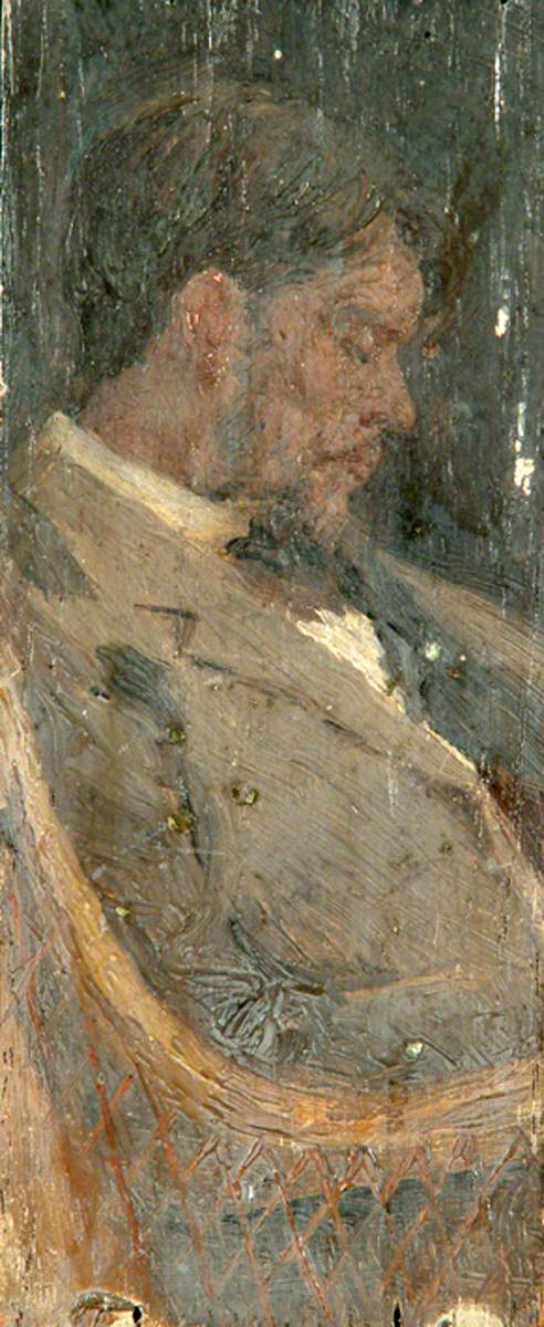 "Sidney Herbert Sime, ""Self Portrait"" (nd), oil on panel board (courtesy Sidney H. Sime Memorial Gallery, via Art UK)"