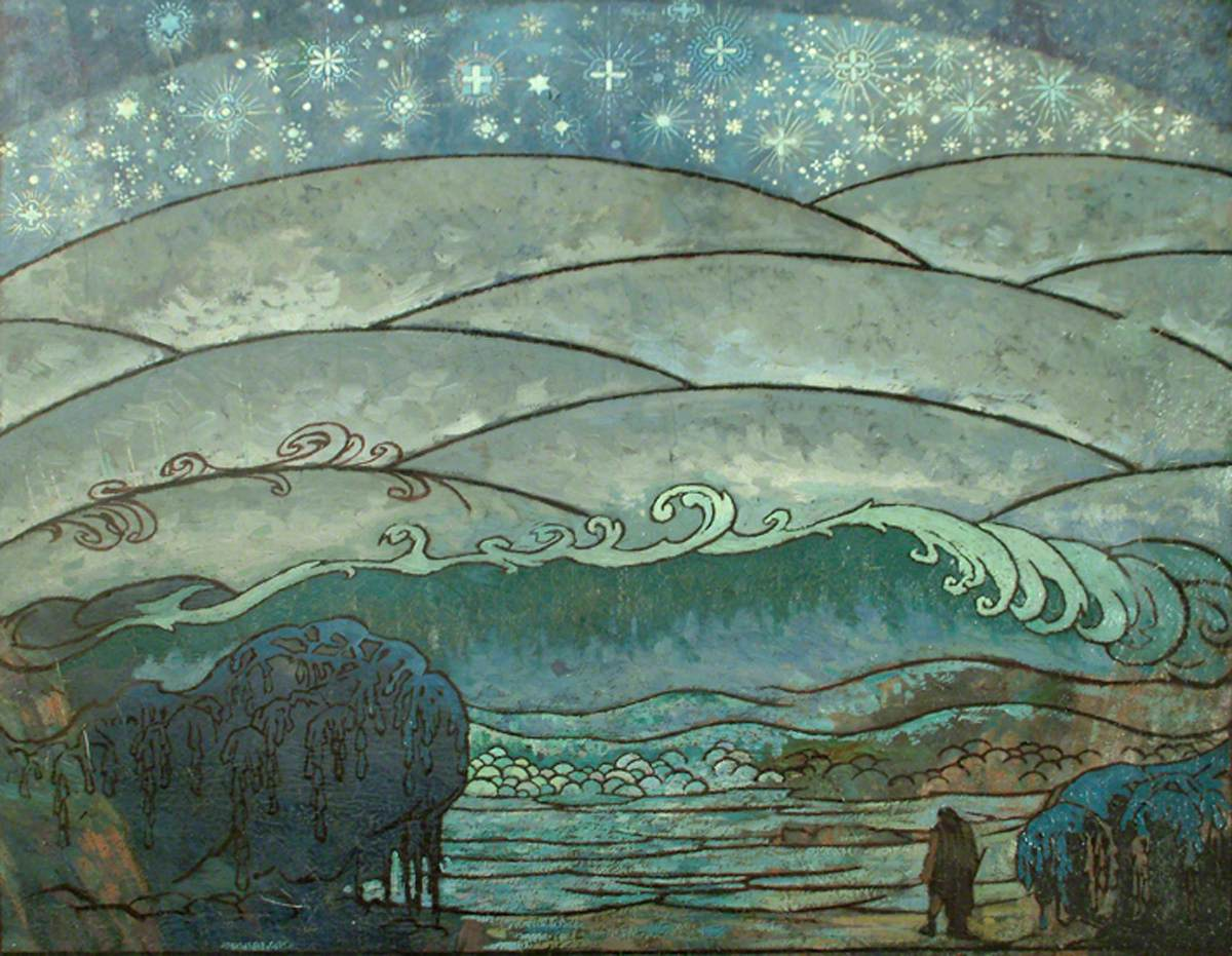 "Sidney Herbert Sime, ""Landscape Decoration"" (nd), oil on canvas (courtesy Sidney H. Sime Memorial Gallery, via Art UK)"