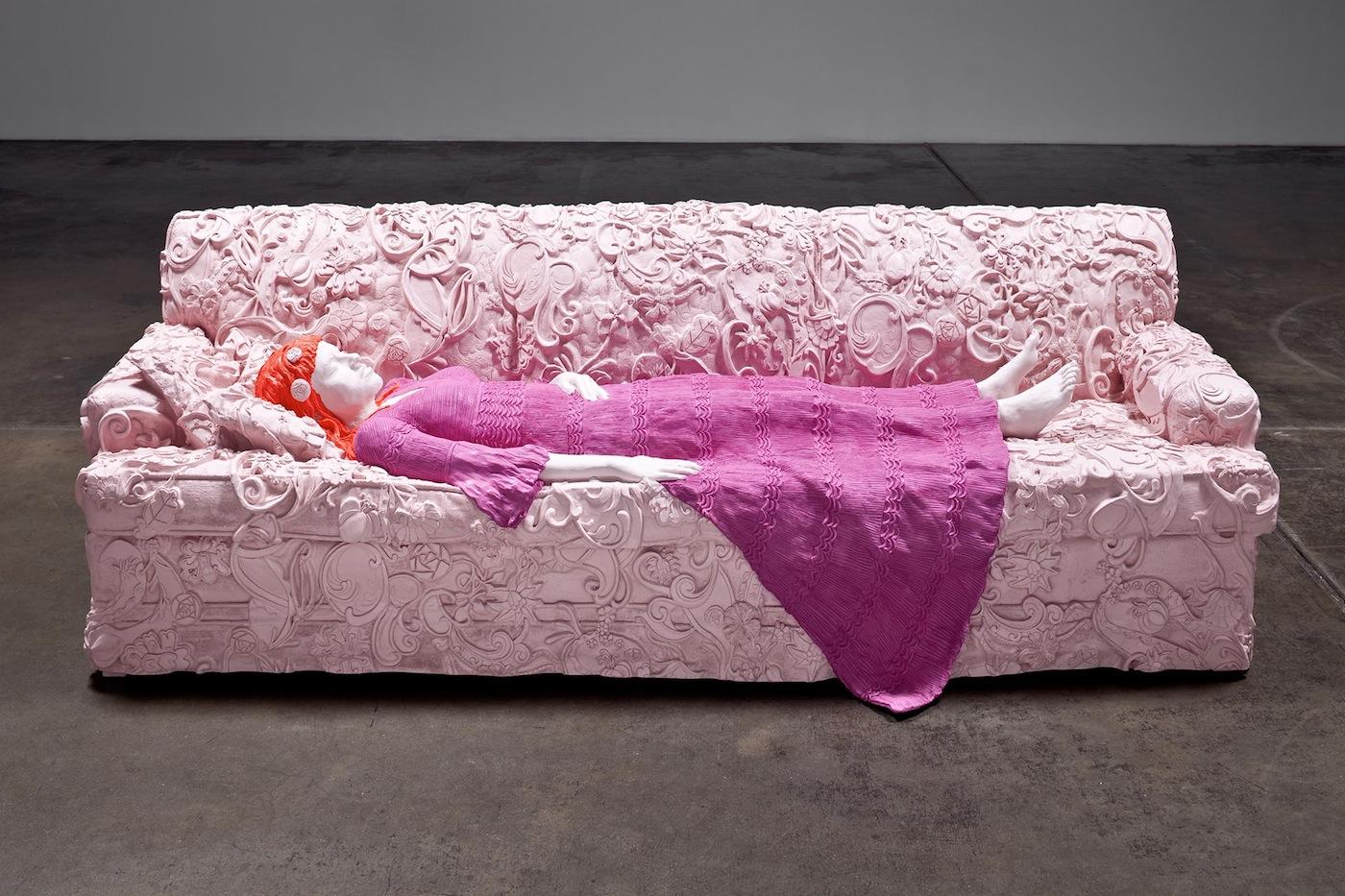 "Liz Craft, ""Nicole Couch (Pink, Fuchsia, Orange)"" (2010), Fiberglass and paint, 32 x 98 x 40.5 inches. (via facebook)"