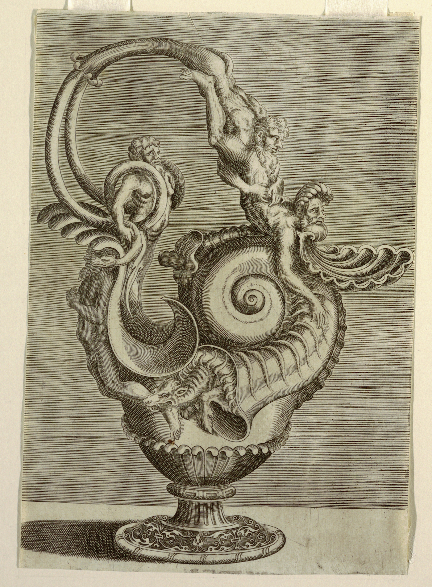 Print by Cornelis Floris II from a series of designs for ewers and vessels (1548) (all images via Cooper Hewitt, Smithsonian Design Museum)