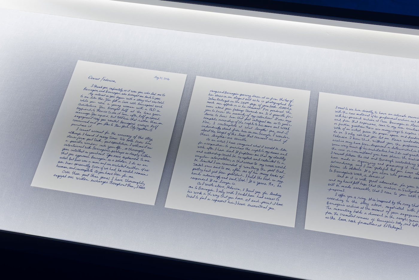 """Jill Magid, facsimile of the """"Proposal Letter"""" to Federica Zanco, 4 pages; 35 x 58.5 x 21.5 in (photograph by Stefan Jaeggi for Kunst Halle Sankt Gallen; courtesy of the artist; LABOR, Mexico City; RaebervonStenglin, Zurich; and Galerie Untilthen, Paris."""