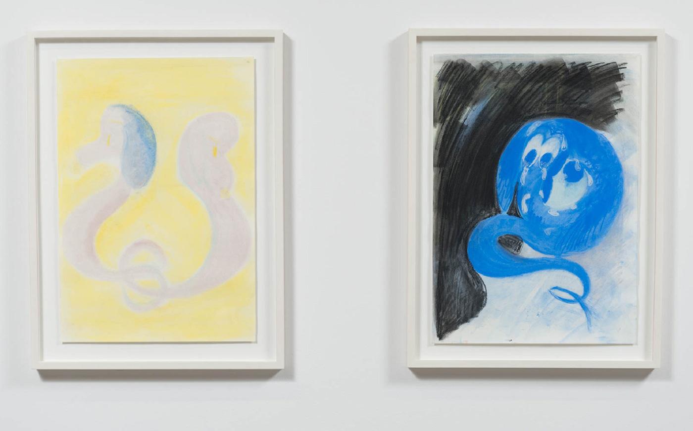 "Tiziana La Melia, ""puppy cat eyes on you & idling moon dog tears"" (2016), 27"" × 20"", Soft pastel on paper"