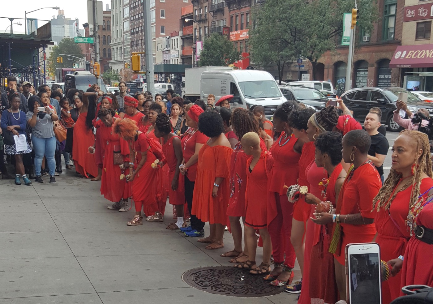 The performers for a circle outside of the New Museum as part of the Black Women Artists for Black Lives Matter event.