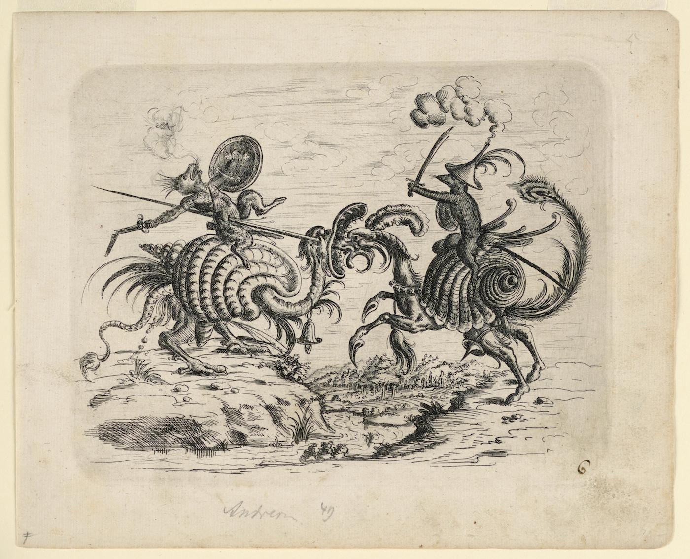 """Christoph Jamnitzer, """"Print, Plate 6, from Neüw Grotteßken Buch (New Grotesque Book)"""" (1610)"""