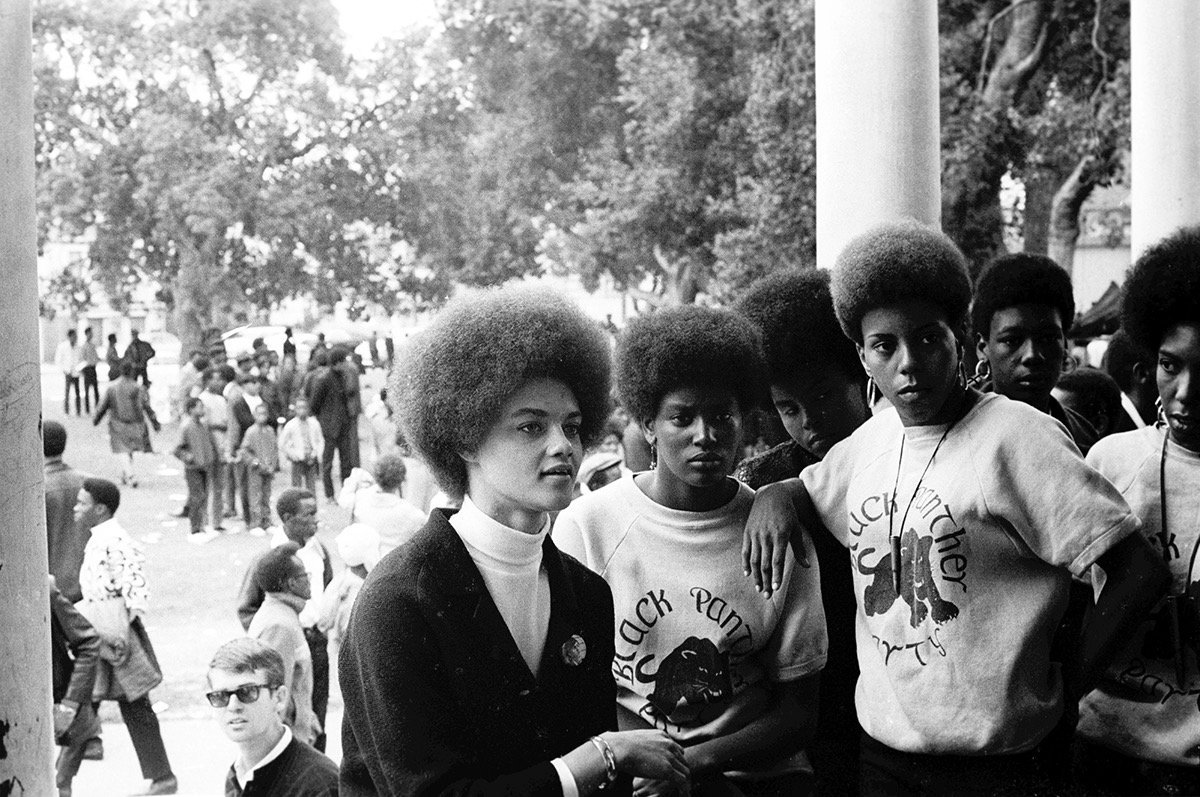 Kathleen Cleaver at Free Huey rally in Defermery Park (named by the Panthers Bobby Hutton Park) in West Oakland