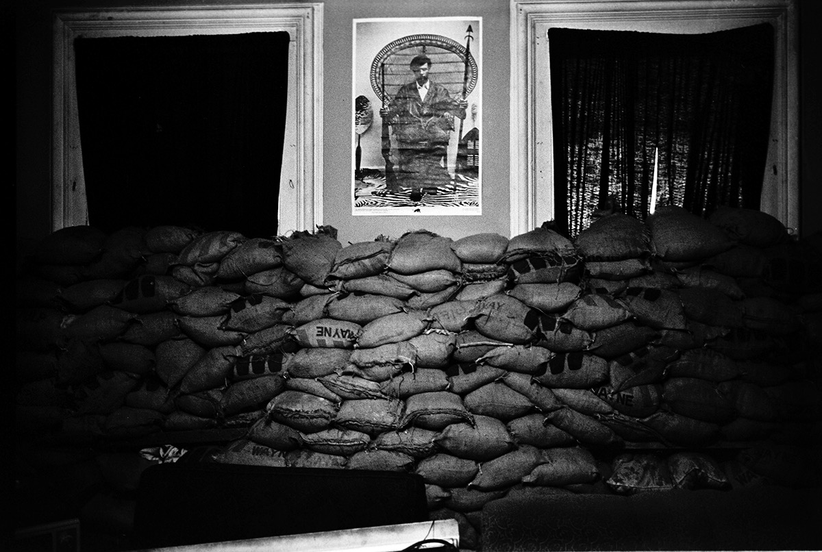 Stephen Shames Sand bags line the walls of the New Haven Panther office to protect against a suspected police raid during the Bobby Seal trial, New Haven, Connecticut, USA, May 1, 1970 Gelatin silver print, printed 2016 16 x 20 in Edition of 8