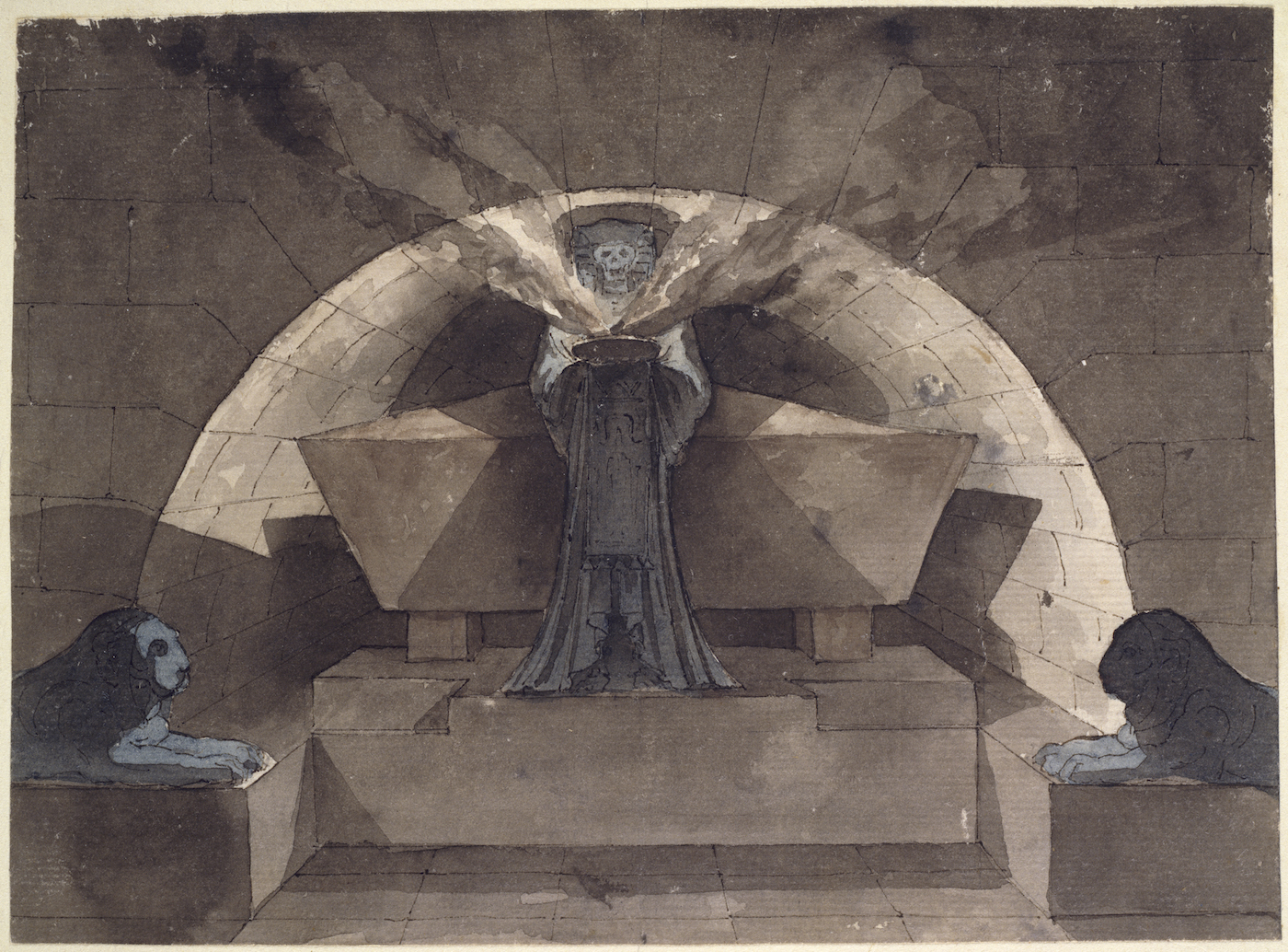 "Louis-Jean Desprez, ""Sepulcher in Egyptian Style with Death Carrying a Lamp"" (1779–84)"