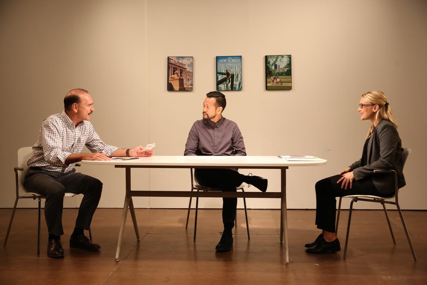 (L-R) actors Murphy Guyer, Louis Ozawa Changchien, Leslie Fray