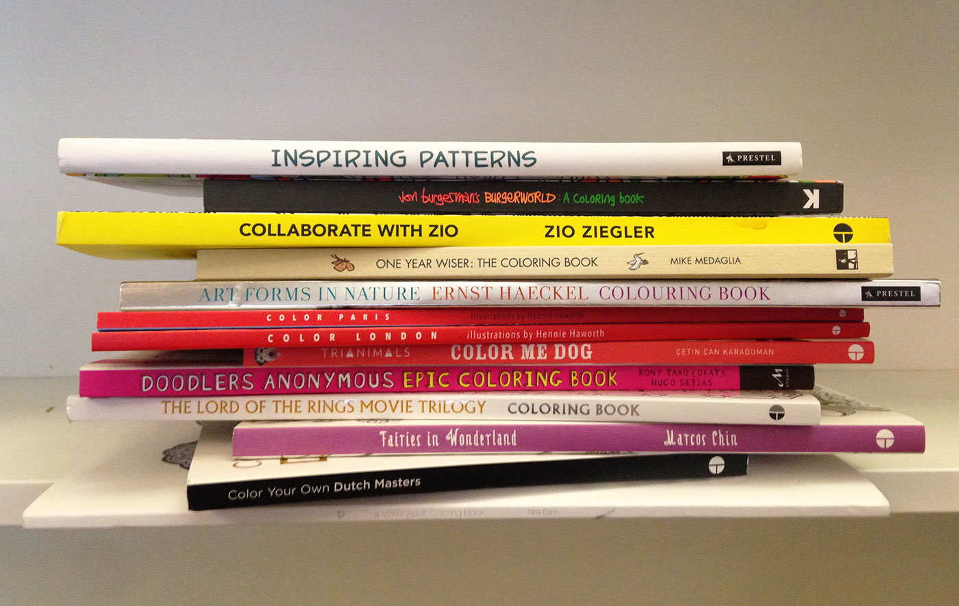 Coloring books sent to the Hyperallergic office