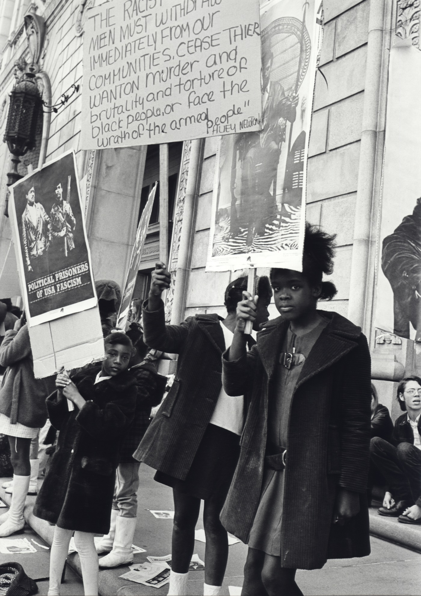 Stephen Shames San Francisco, California, USA: Children at a Free Huey, Free Bobby rally in front of the Federal Building., February, 1970 Gelatin silver print 20 x 16 in Signed and numbered by photographer verso; Edition of 8 + 2 Aps