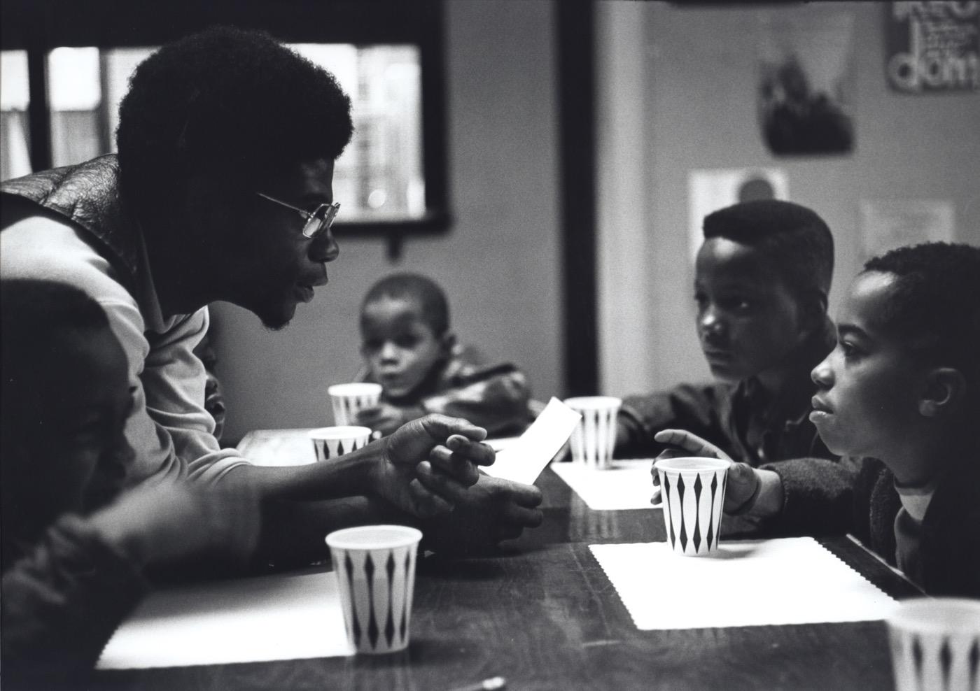 "Stephen Shames, ""Free Breakfast Program, Chicago, Illinois, 1970"" (2016) Gelatin silver print 12 1/2 x 19 in Signed by photographer verso(all photographs courtesy Steven Kasher gallery, New York)"