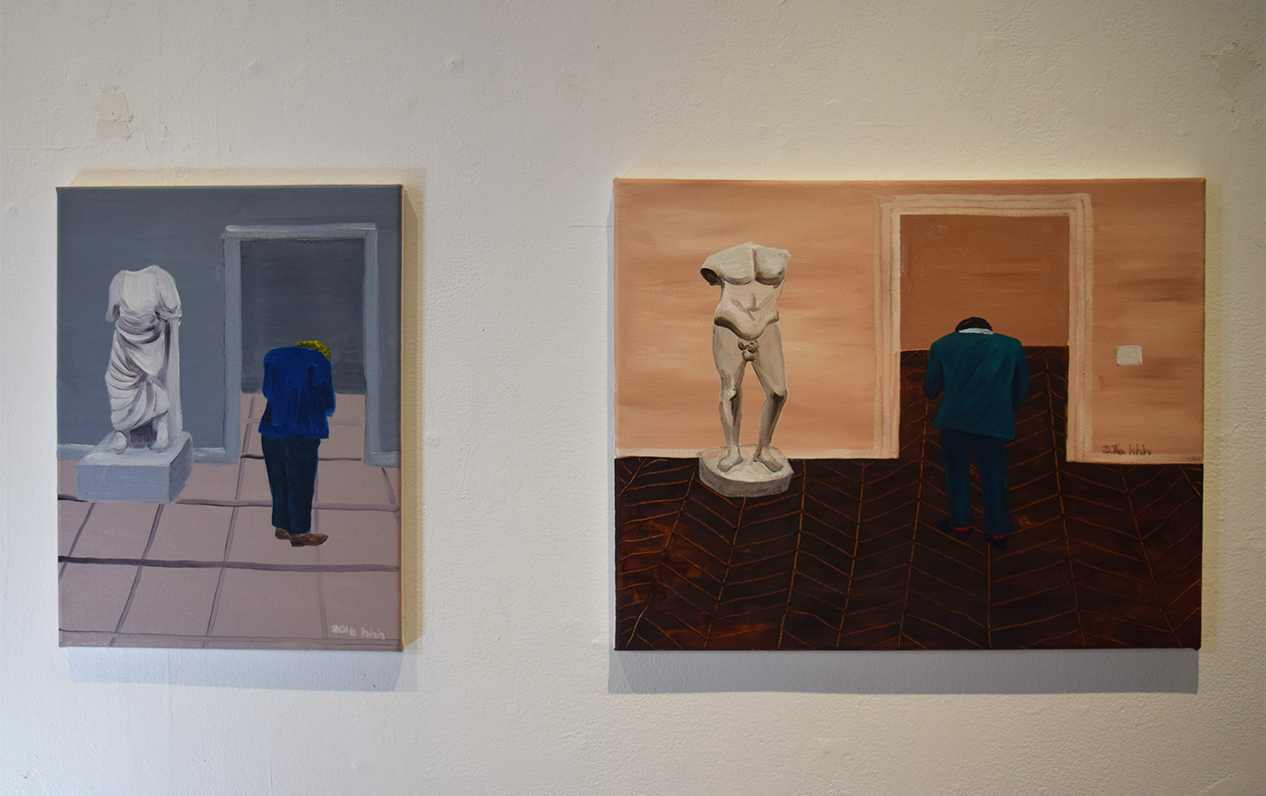 """Hai-Hsin Huang, """"European Wing #2"""" (2016, left) and """"European Wing #1"""" (2016, right)"""