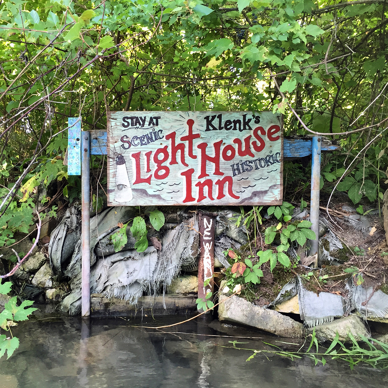 One of the signs, only visible from the water. Photo courtesy of Scott Hocking.