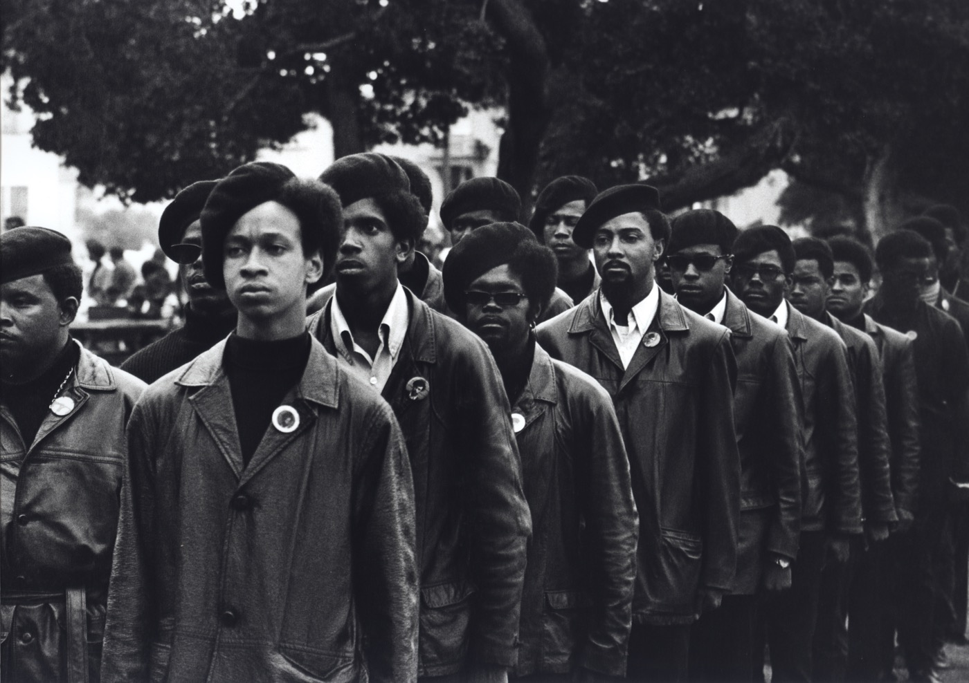 Stephen Shames Panthers March at Defermery Path--Oakland--Rally to Free Huey, 1969 Vintage gelatin silver print, printed ca. 1969 8 x 10 in Signed, dated, titled and stamped by photographer verso
