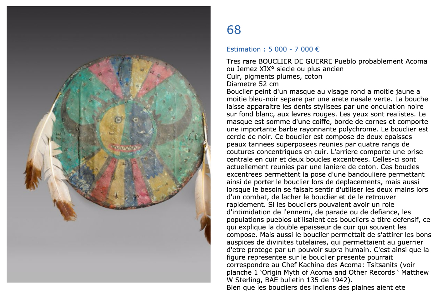 The Acoma shield in the EVE Auction catalogue (screenshot by the author for Hyperallergic)