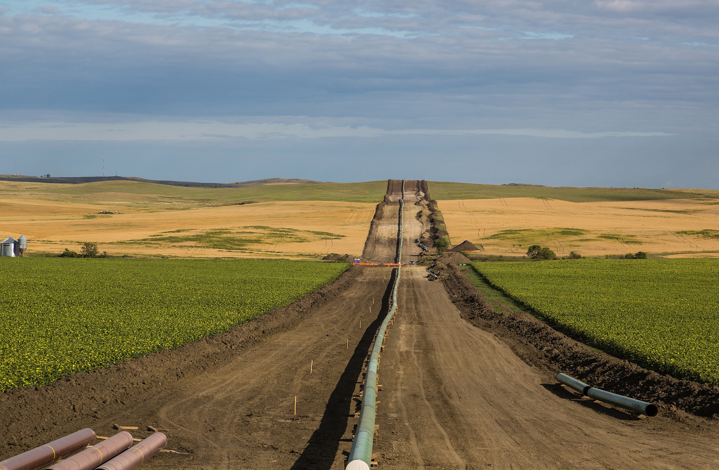 The Dakota Access Pipeline under construction in August, as seen in New Salem, North Dakota (photo by Tony Webster/Flickr)
