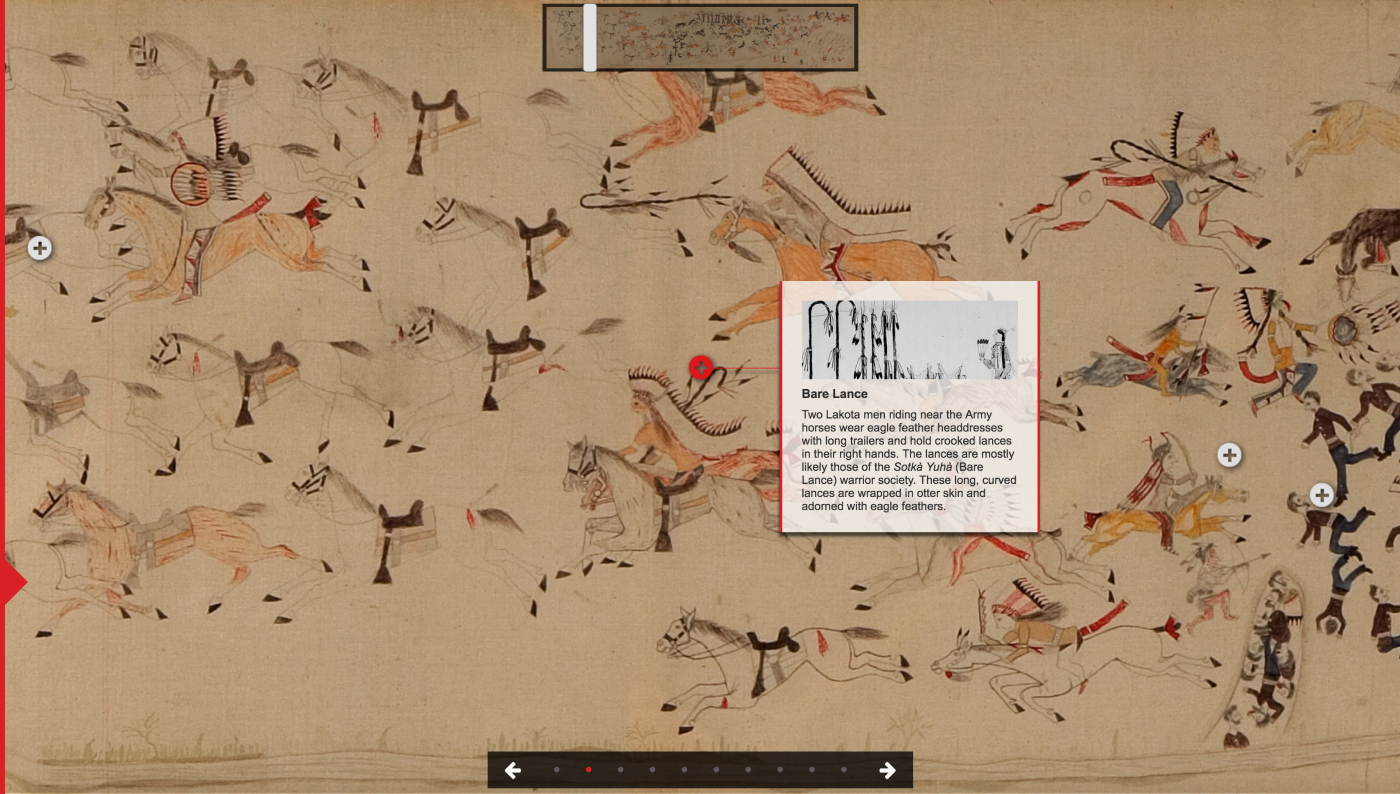 The online interactive for 'First Person: Remembering Little Bighorn' (screenshot by the author via firstperson.philbrook.org)