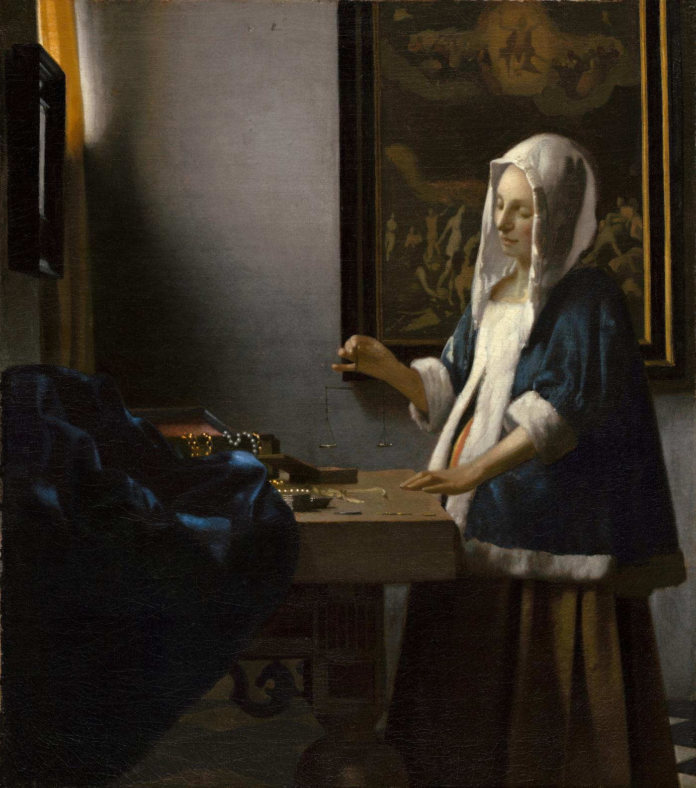 "Johannes Vermeer, ""Woman Holding a Balance"" (ca 1664), National Gallery of Art (via Wikimedia Commons)"
