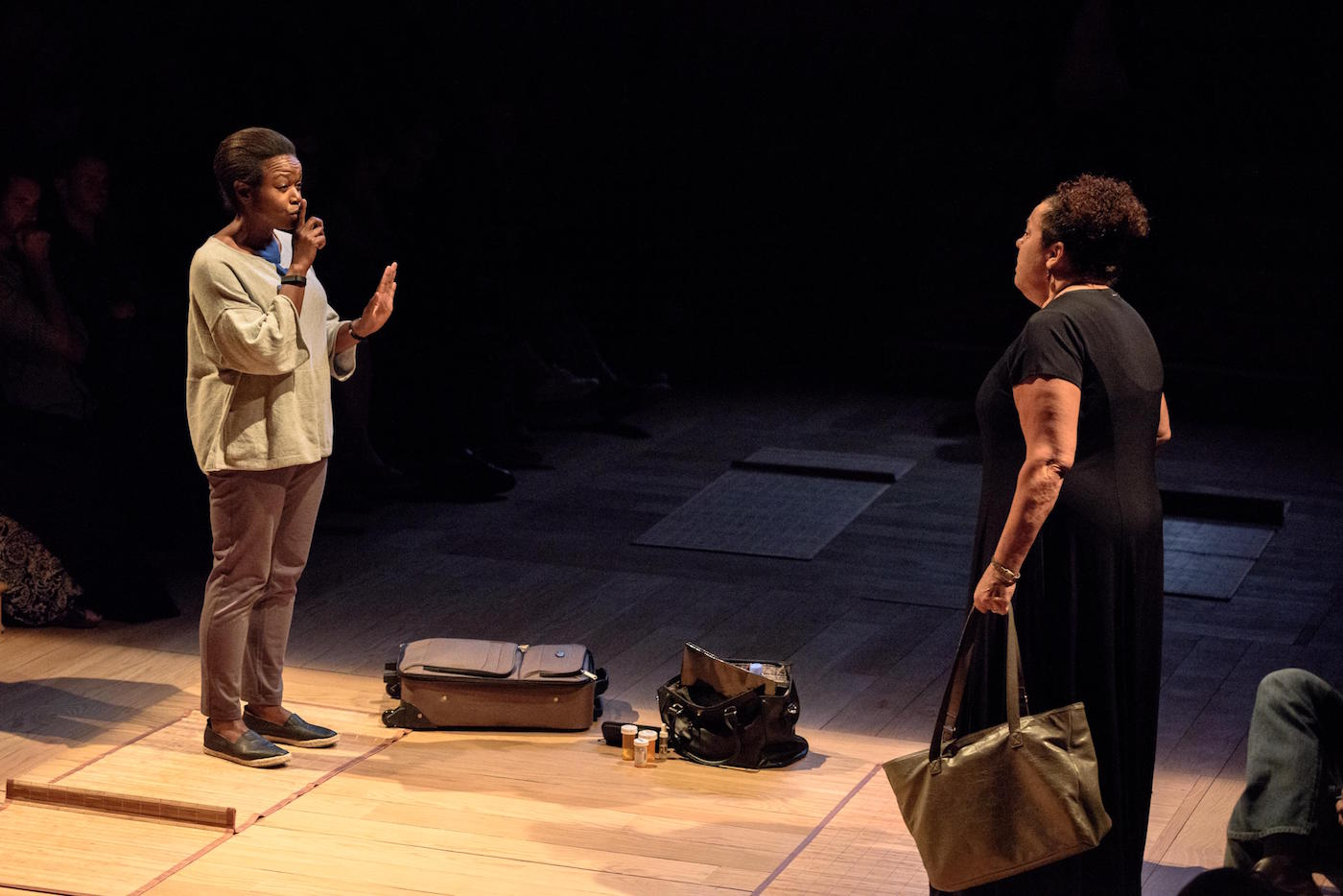Marcia DeBonis and Quincy Tyler Bernstine in a scene from Bess Wohl's Small Mouth Sounds, directed by Rachel Chavkin at the Pershing Square Signature Center (photo by Ben Arons).