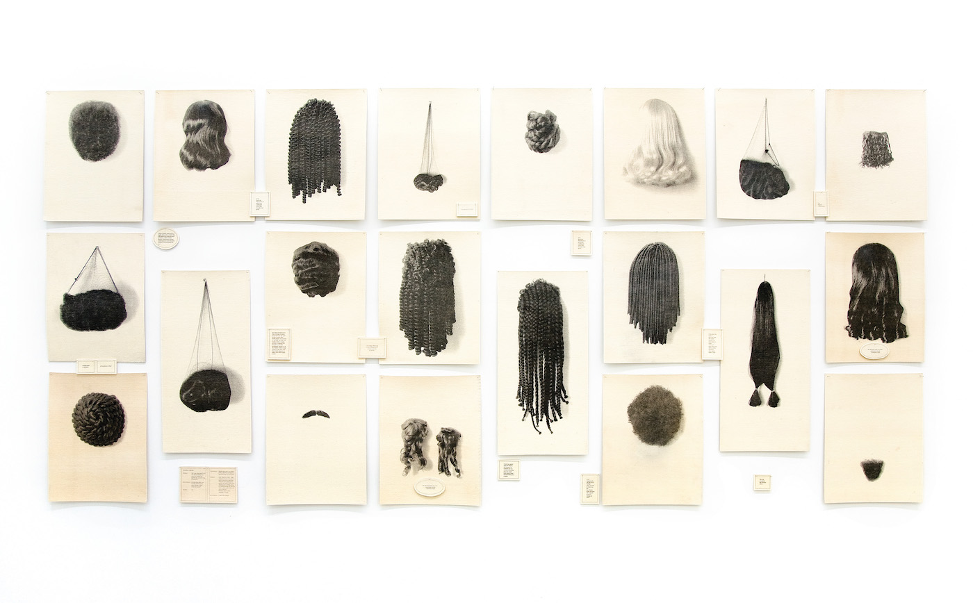 """Lorna Simpson, """"Wigs (Portfolio)"""" (1994), 21 lithographs on felt with 17 lithographed felt text panels (courtesy of Rubell Family Collection, Miami)"""